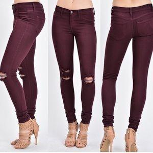 Distressed Burgundy KanCan Skinny Jeans